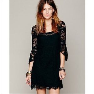 Free People Black Swinging 60's Lace Dress Size M